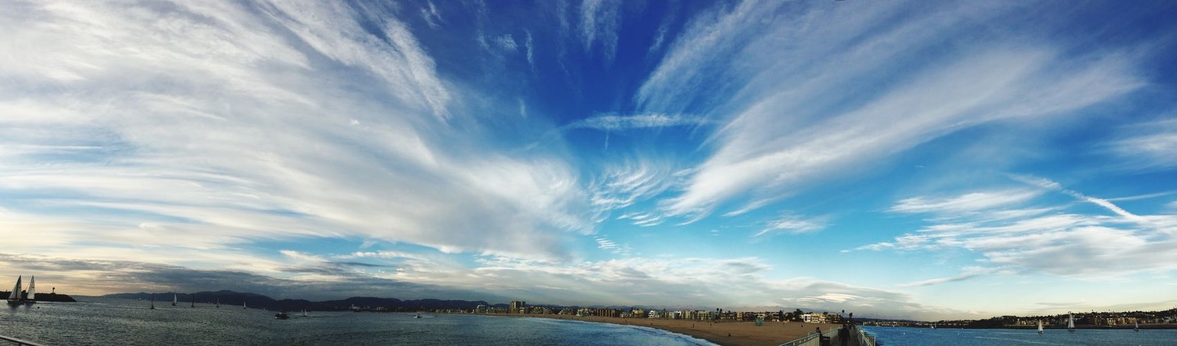 IPS2016Blue Panoramic Photography Pacific Ocean Panorama Marinadelrey Clouds And Sky Endoftheday Winterlight