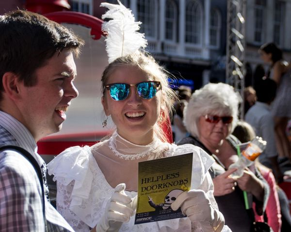 Odd mix of Victorian dress and shiny specs. Candid City Costume Crowd Edinburgh Edinburgh Fringe Festival People, Portrait Reflective Scotland Streetphotography Sunglasses The Portraitist - 2016 EyeEm Awards Theatre Woman The Street Photographer - 2016 EyeEm Awards Edinburgh Festival