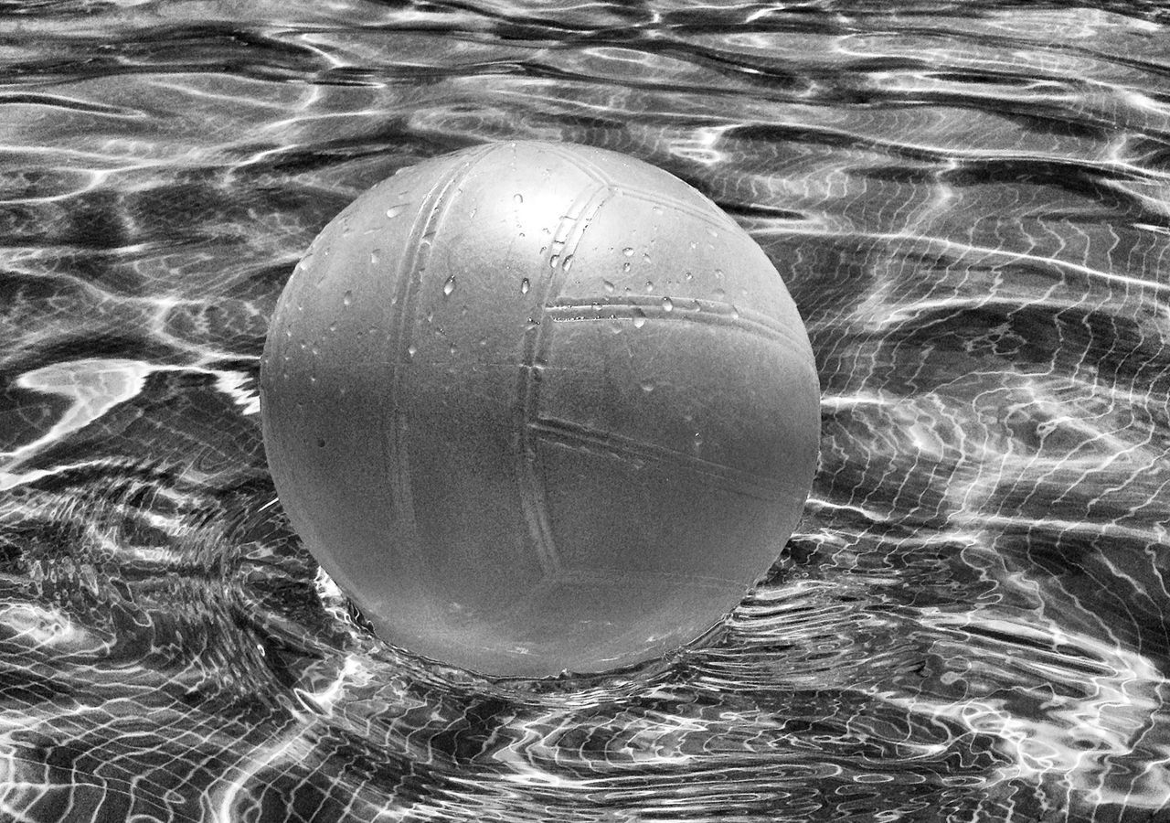 Close-up of a ball floating on water