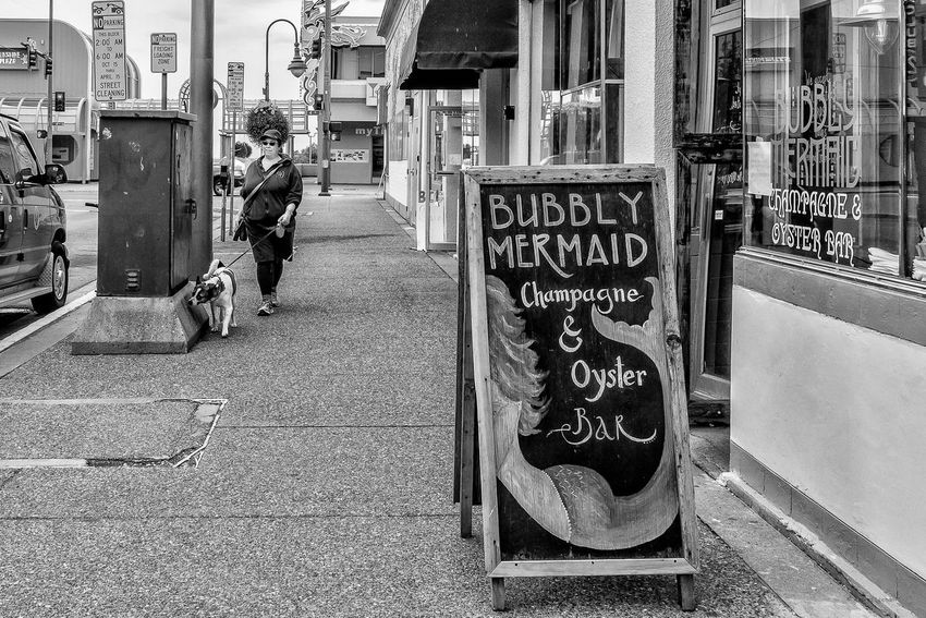 The Bubbly Mermaid Walks Her Dog. Champagne And Oyster Bar Cold Weather Do Walking Street Advertising Black And White Photography Street Perspective