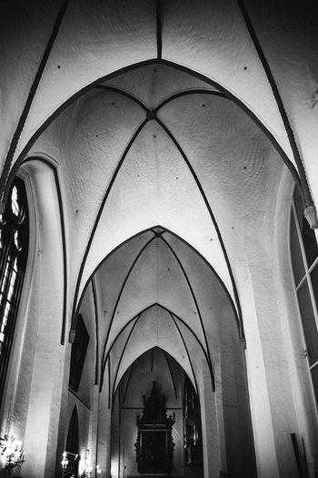 Low angle view of ribbed vaulting in church