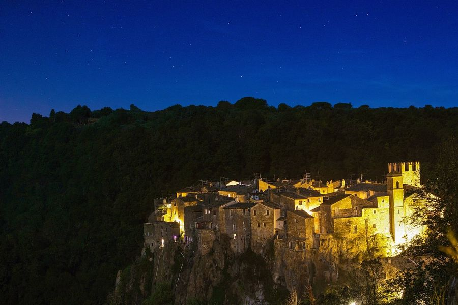 Calcata Calcatavecchia Lazio Viterbo Italia Night Architecture Building Exterior House Built Structure Tree Sky Mountain No People Landscape Nature Outdoors Star - Space Business Finance And Industry Beauty In Nature Scenics Astronomy