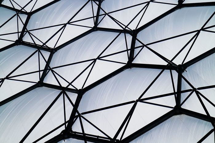 Pattern Sky Abstract Low Angle View Built Structure No People Clear Sky Architecture Modern Concentric Indoors  Day Girder Repeating Patterns