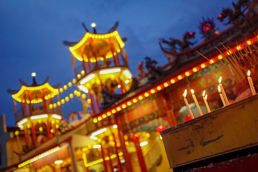Nine Emperors God Temple Candle Light Candle Buddhist Chinese Illuminated Night Architecture Building Exterior Built Structure Nature A New Beginning No People Lighting Equipment Low Angle View Sky Dusk Religion Outdoors Building Travel Destinations Celebration Decoration Focus On Foreground Belief EyeEmNewHere
