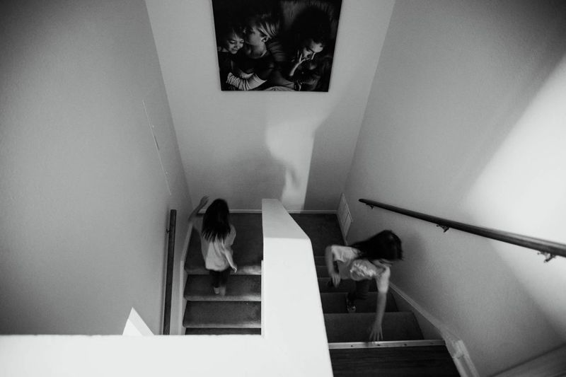 Indoors  Staircase Steps And Staircases Women Real People Steps One Person Lifestyles Architecture Day People