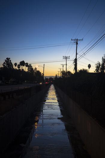 Railroad track at sunset