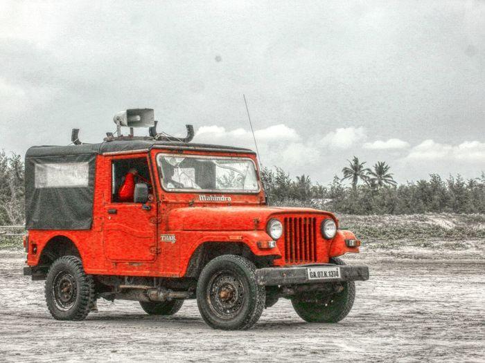 Beach wagon Red Goadiaries Cars Mahindra Thar