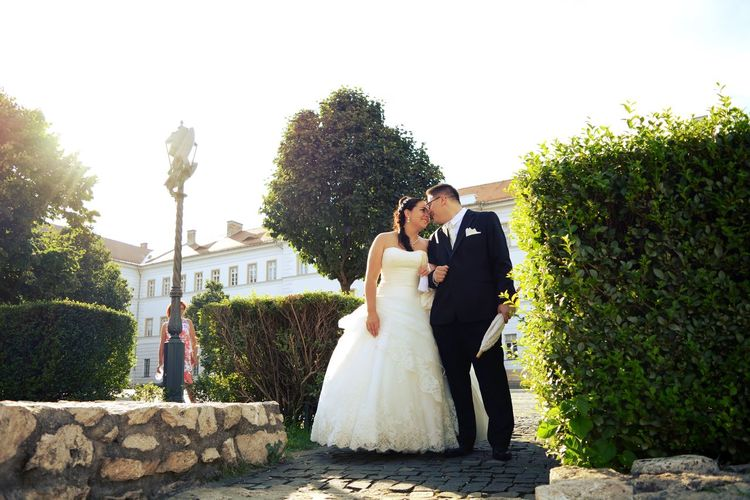 Couple Happiness Kiss Smiling Together Wedding Wedding Clothes Young