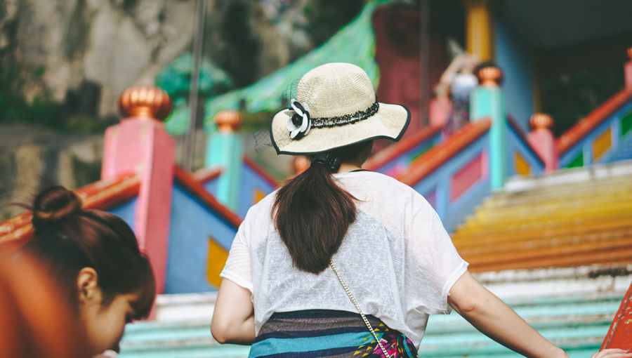 Rear view of people in amusement park