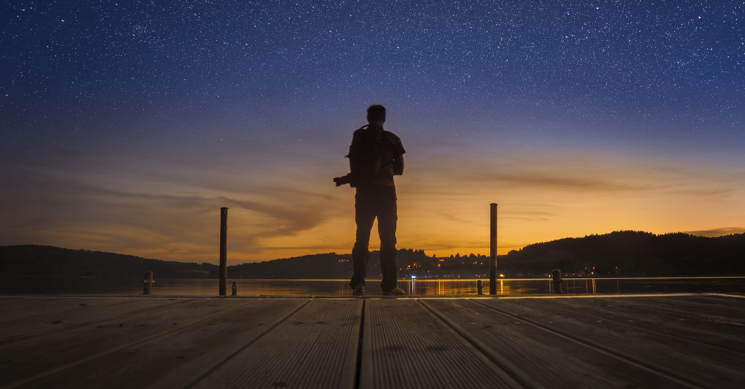 sky, star - space, one person, scenics - nature, space, real people, standing, night, nature, beauty in nature, sunset, silhouette, astronomy, lifestyles, leisure activity, outdoors, men, technology, star field
