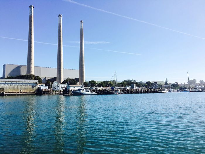 Smoke Stack Vapor Trail Waterfront Factory Industry Water Blue Architecture Tall - High Sky Day Monument Outdoors Tranquility Tall Obelisk Architectural Column Sea Tranquil Scene Harbor Morro Bay Morro Bay, California California Ocean Betterlandscapes