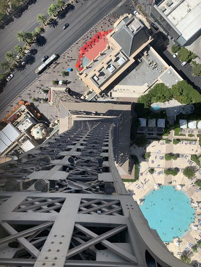 High angle view of city street