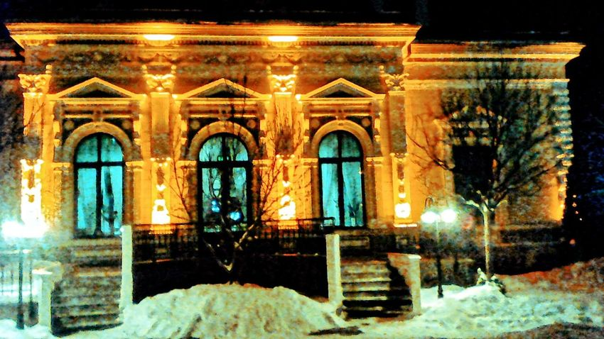 Botosani Romania Winter Snow Cold Temperature Night Illuminated Architecture Building Exterior Winter History