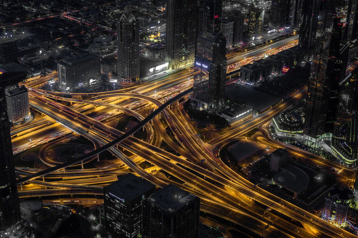 When the night falls Dubai Mobility In Mega Cities Burj Khalifa City Cityscape Night No People Skyscraper To The Top Traffic