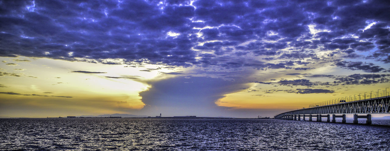 A view towards Kansai intl. airport HDR Hdr_Collection Japan Japan Photography OSAKA Architecture Bridge - Man Made Structure Built Structure Cloud - Sky Connection Day Dramatic Sky Kansai International Airport Nature No People Outdoors Scenics Sea Sky Sunset Tranquility Transportation Water