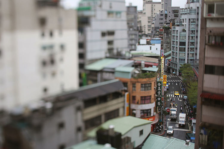 Ximending, Taiwan Cityscape Building Exterior Architecture Built Structure City Building Residential District Selective Focus Tilt-shift Transportation Mode Of Transportation High Angle View Day No People Outdoors Cityscape Street City Street Motor Vehicle Land Vehicle Apartment