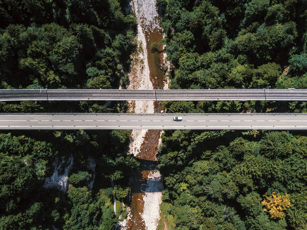 Aerial View Birds View Bridge Bridge - Man Made Structure Bridges Driving Driving Car Dronephotography Green Color Growth Outdoors Plant Railway Railway Bridge River Travelling Tree Water
