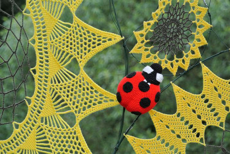 Ladybug Art Art And Craft Crochet Flower Focus On Foreground Ladybird Outdoors