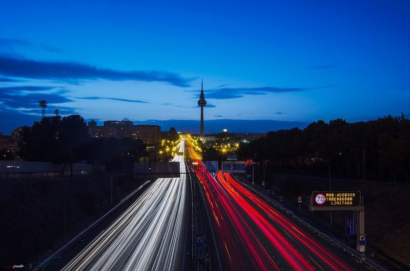 Light Trail Traffic Illuminated Long Exposure Taking Photos EyeEm Selects Madrid Madrid ❤ Madrid,spain City Street Urban Skyline