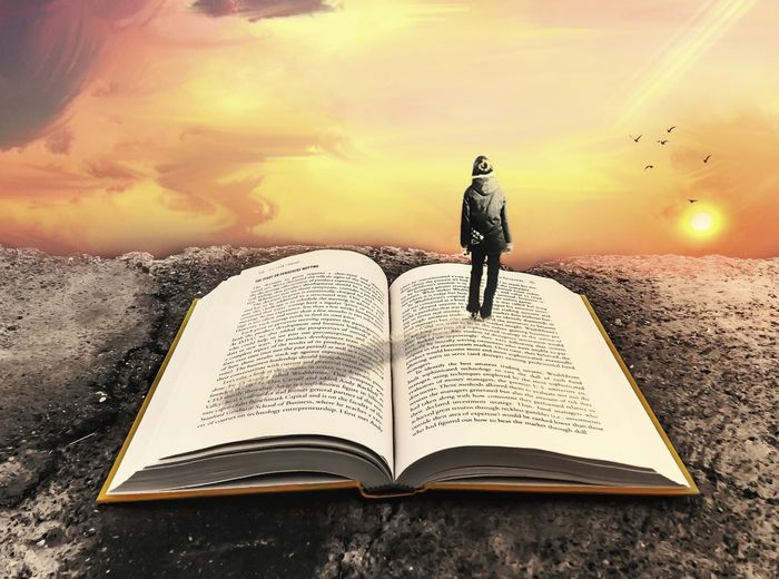 Amazement of a Reader Love Imaginations Pages Amazement Wonder Reading Morning Sky One Person Book Men Outdoors Rear View Cloud - Sky