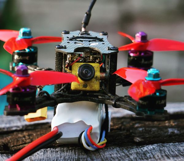 Close-up of drone on wooden table