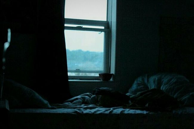 Natural Light Distant Mountains Bedroom Unkept Sheets Blue Vibes Calm Sunset Vibes Sleepy Vibe