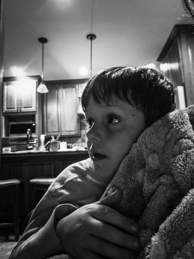 Little Boy Blackandwhite Portrait Domestic Room Domestic Life Living Room Home Interior Kitchen Domestic Kitchen Headshot Close-up