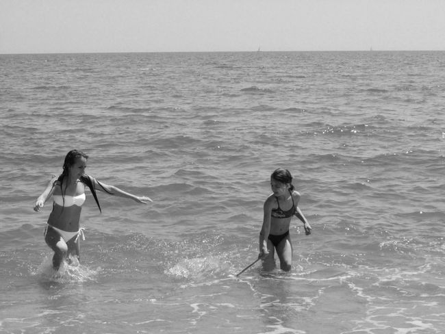 Life Life Is A Joke Summer ☀ Love ♥ With Sister Beautiful Day Fun Black And White Beach