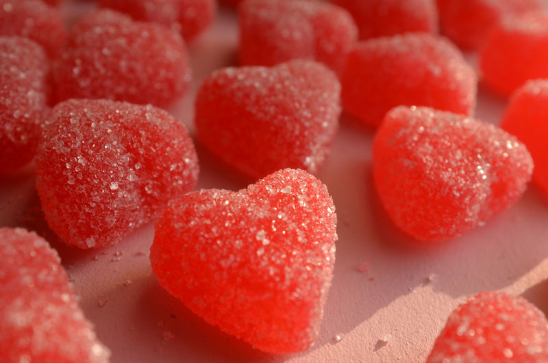 red jelly hearts sugar coated candy Candy Celebration Close-up Food And Drink Freshness Heart Shape Holidays Jelly Candy Love ♥ No People Red Red Candy Red Hearts Sugar Sunlight Sweets Symbol Valentine Valentine's Day