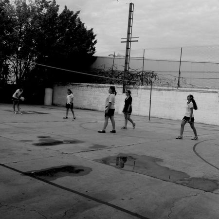 School Volleyball Sport Take A Photo Red Balon Tenis Black And White