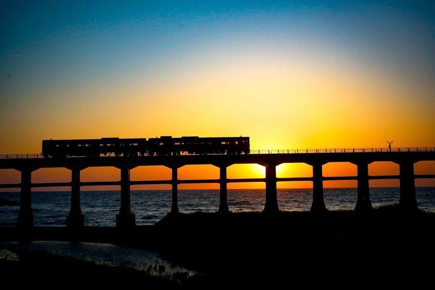 Bridge Train Yamaguchi Water Clear Sky Sea Sunset Beach Silhouette Bridge - Man Made Structure Sunlight Dusk Sun Romantic Sky