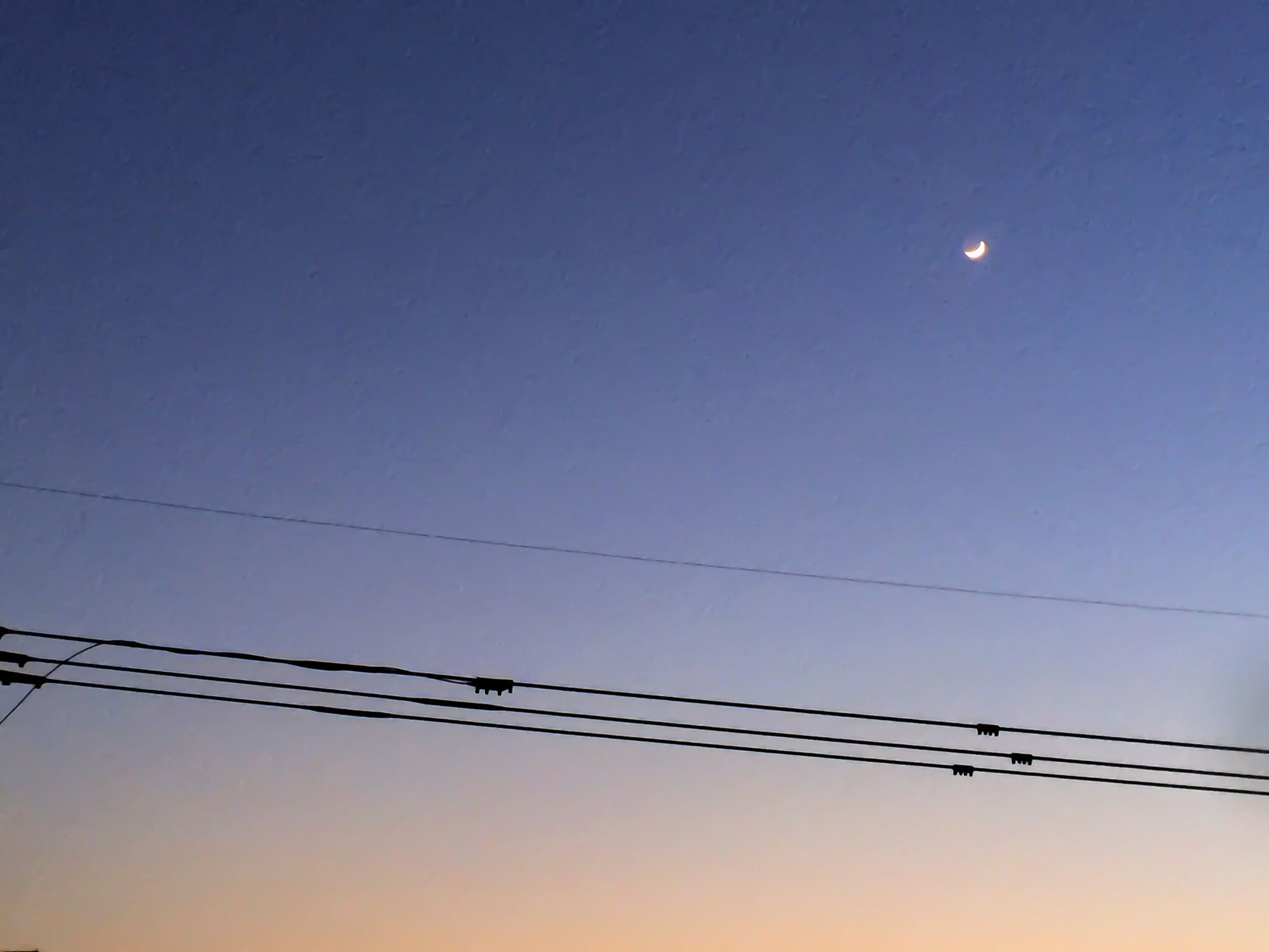 moon, cable, low angle view, connection, power line, clear sky, electricity, no people, nature, sky, outdoors, beauty in nature, bird, day, astronomy
