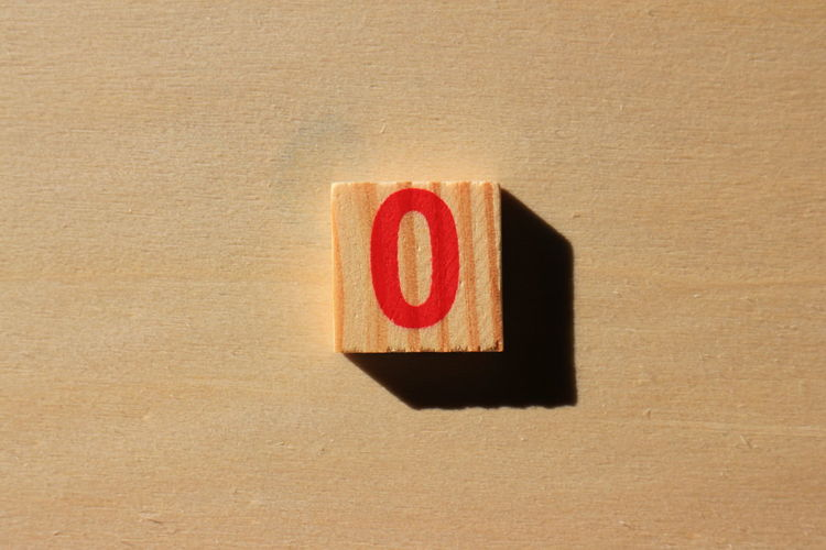 Close-up of number 0 on wood