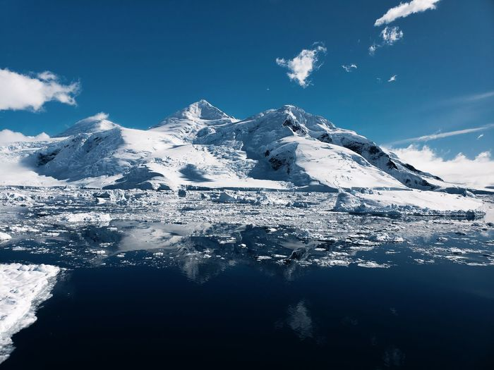 Scenic view of snowcapped mountains against sky in antarctica