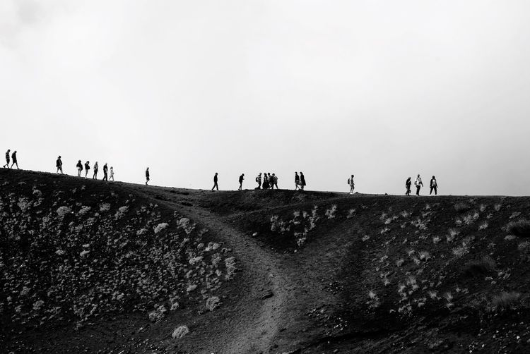 Silhouette BW_photography Aetna Crater Volcano Mountain Landscape Sicily Sicilia Italy Italian Group Of People Sky Real People Lifestyles Men Land Nature Leisure Activity Outdoors Women Group Day