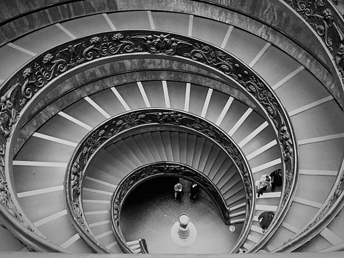 High Angle View Of Bramante Staircase In Vatican Museum
