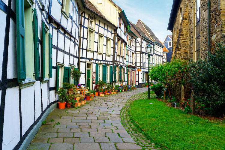 Old town Small backstreet in Hattingen Ruhr Germany Architecture Plant Built Structure Building Exterior Building Nature Footpath Window Green Color No People Day Sky Grass Outdoors Growth Flower House Flowering Plant Residential District Tree Flowerbed Hattingen Westfalen Ruhrgebiet Altstadt Fachwerk Fachwerkhaus
