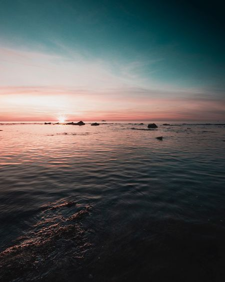 Water Sky Sea Scenics - Nature Beauty In Nature Sunset Cloud - Sky Tranquil Scene Tranquility Horizon Over Water Beach Nature Horizon Idyllic Land No People Non-urban Scene Outdoors Waterfront