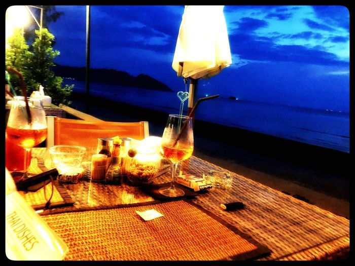 Evening Sky Diner Beach Table Food And Drink Restaurant No People Drink Food Outdoors Place Setting Water Sky Sea Wineglass Drinking Glass