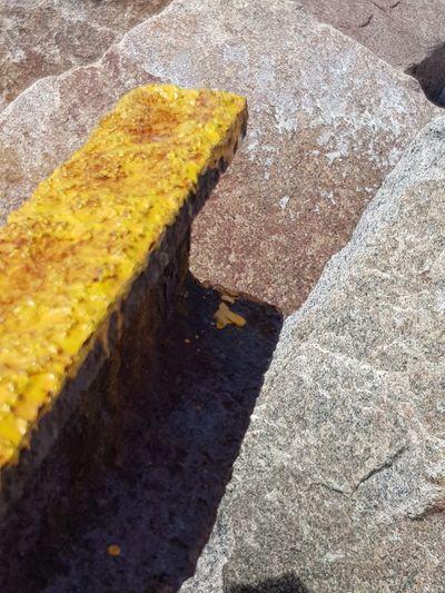 yellow Yellow Oil Spill Textured  Sand Beach Road High Angle View Sunlight Close-up Asphalt