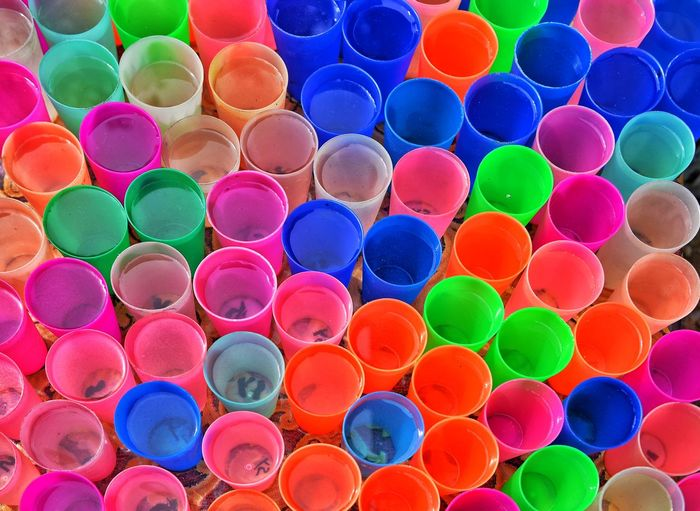 Multi Colored Large Group Of Objects Full Frame Choice Backgrounds No People High Angle View Still Life Abundance Variation Plastic Arrangement Cups Colors Colorful Colours Drink Drinking Blue Green Red Pink EyeEmNewHere