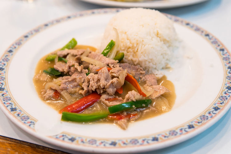 Bowl Close-up Day Food Food And Drink Freshness Healthy Eating Indoors  Meat No People Plate Ready-to-eat Serving Size SLICE Soup Stir Fried Beef With Bell Pepper Table Thai Food Thai Food Good Taste Vegetable