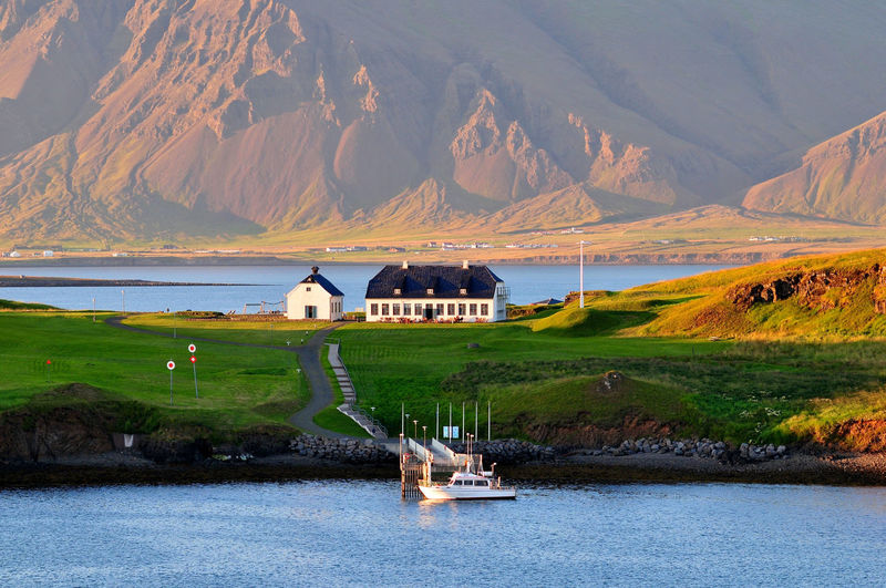 Iceland Beauty In Nature Boat Iceland Mountain Mountain Range Nautical Vessel Tranquil Scene Water