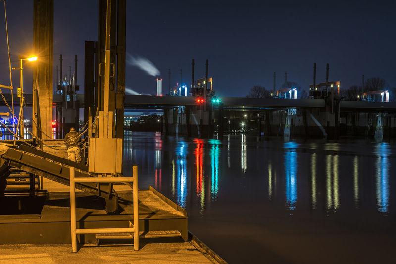 ShipStop Billwerder Bucht City Cold And Warm Deep Blue Sky Illuminated Light Modern Night Night Lights Night Photography Night View Norderelbe Outdoors Ponton Reflection River Water Water Reflections