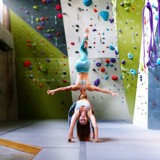 Rock Climbing Yoga Yogogirls Headstand Indoor Climbing Backbend