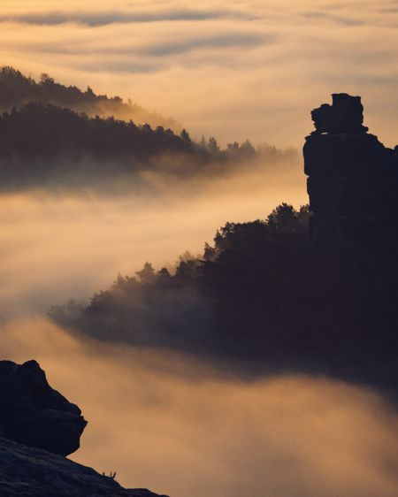 Scenic view of silhouette trees and rocks against sky during sunrise
