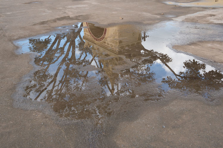 High angle view of reflection in puddle