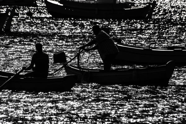 Silhouette Men Adult Nature Sky Greece Sunlight Water Sea Boats And Sea Boat Varka Fishing Fishermen Fishinglife Gonefishing Fishing Boat Fishing Time Fishermanslife Backlight Taking Photos Horizon Over Water