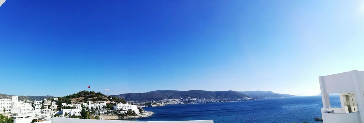 My View This Morning Blue Sky Sea Beach Water Mountain Nature Day Bodrum, Turkey