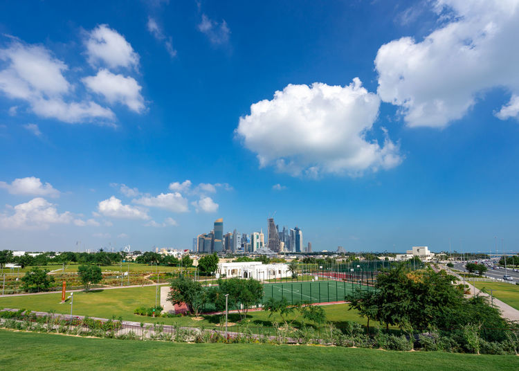 Architecture Building Exterior Grass Sky Cloud - Sky Landscape Day City No People Outdoors Al Bidda Park Doha Qatar Public Transportation Westbay Skyline Tennis Court